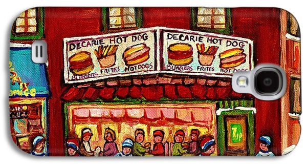 Decarie Hot Dog Restaurant Cosmix Comic Store Montreal Paintings Hockey Art Winter Scenes C Spandau Galaxy S4 Case by Carole Spandau