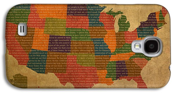 Declaration Of Independence Word Map Of The United States Of America Galaxy S4 Case by Design Turnpike