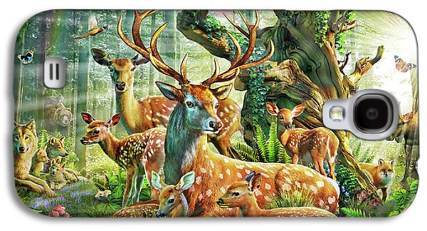 Galaxy S4 Case featuring the drawing Deer Family In The Forest by Adrian Chesterman