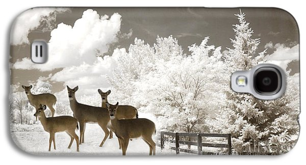 Deer Nature Winter - Surreal Nature Deer Winter Snow Landscape Galaxy S4 Case by Kathy Fornal
