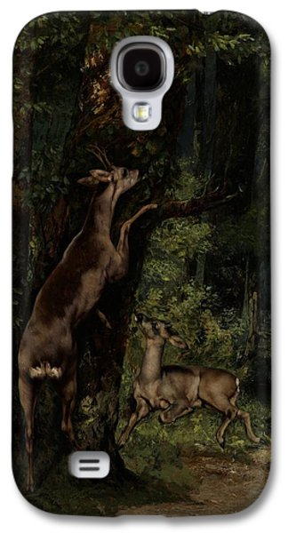 Feeding Young Galaxy S4 Case - Deer In The Forest by Gustave Courbet