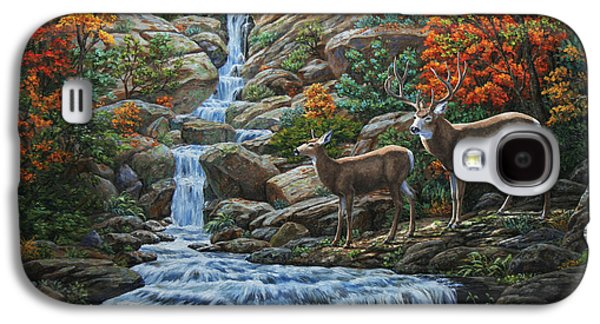 Deer Painting - Tranquil Deer Cove Galaxy S4 Case by Crista Forest