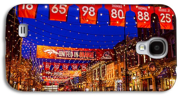 Denver Larimer Square Blue Hour Nfl United In Orange Galaxy S4 Case by Teri Virbickis