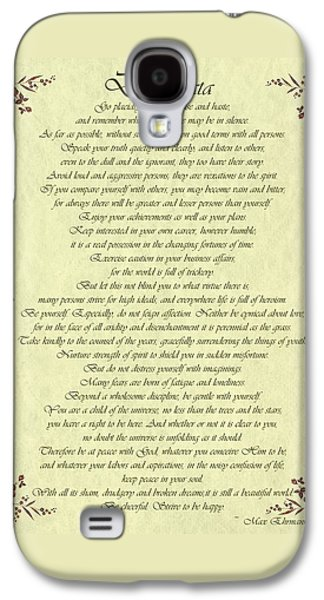 Desiderata Gold Bond Scrolled Galaxy S4 Case by Movie Poster Prints