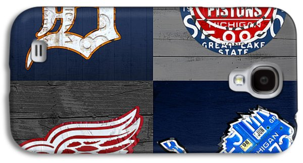 Detroit Sports Fan Recycled Vintage Michigan License Plate Art Tigers Pistons Red Wings Lions Galaxy S4 Case by Design Turnpike