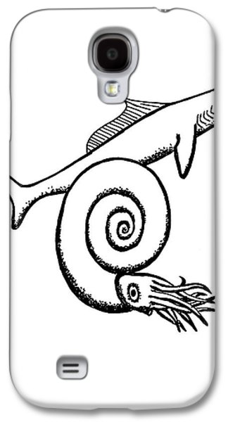 Devonian Shark And Ammonoid Galaxy S4 Case by Richard Bizley