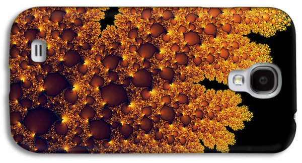 Digital Warm Golden Fractal Leaf Black Background Galaxy S4 Case