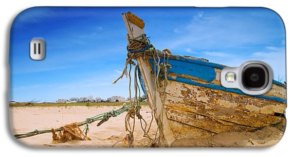 Dilapidated Boat At Ferragudo Beach Algarve Portugal Galaxy S4 Case by Amanda Elwell