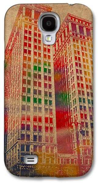 Dime Building Iconic Buildings Of Detroit Watercolor On Worn Canvas Series Number 1 Galaxy S4 Case