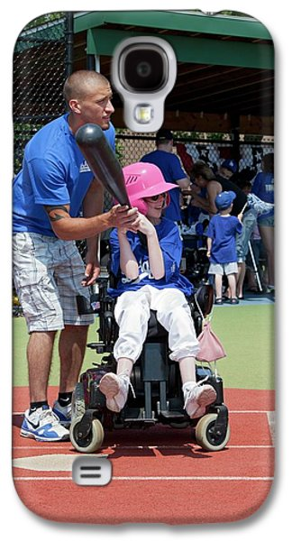 Disabled Girl Playing Baseball Galaxy S4 Case by Jim West