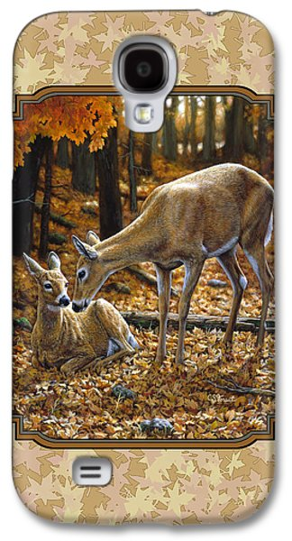 Doe And Fawn Autumn Leaves Pillow And Duvet Cover Galaxy S4 Case by Crista Forest