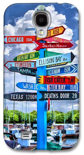 Door County Directional Sign In Egg Harbor Galaxy S4 Case by Christopher Arndt