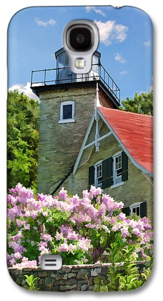 Door County Eagle Bluff Lighthouse Lilacs Galaxy S4 Case by Christopher Arndt
