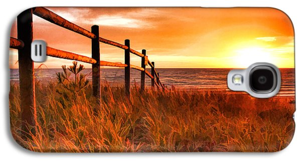 Door County Europe Bay Fence Sunrise Galaxy S4 Case by Christopher Arndt