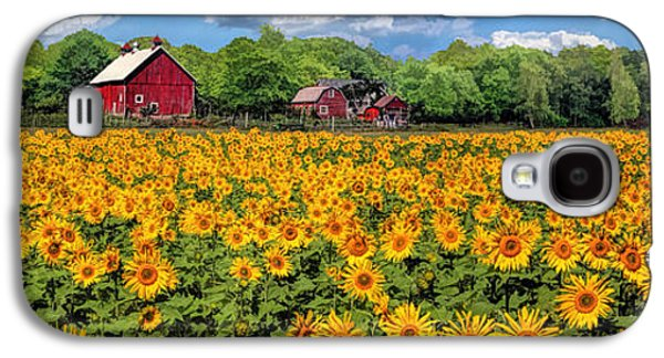 Door County Field Of Sunflowers Panorama Galaxy S4 Case by Christopher Arndt