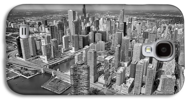 Downtown Chicago Aerial Black And White Galaxy S4 Case