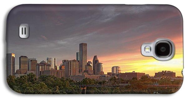Downtown Houston Skyline Glorious Sunset Light Galaxy S4 Case by Silvio Ligutti