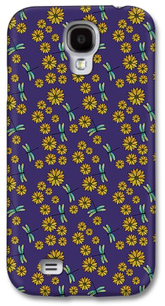 Dragonflies And Daisies On Plum Galaxy S4 Case by Jenny Armitage