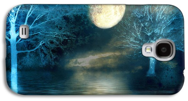 Dreamy Blue Moon Nature Trees - Surreal Full Blue Moon Nature Trees Fantasy Art Galaxy S4 Case by Kathy Fornal