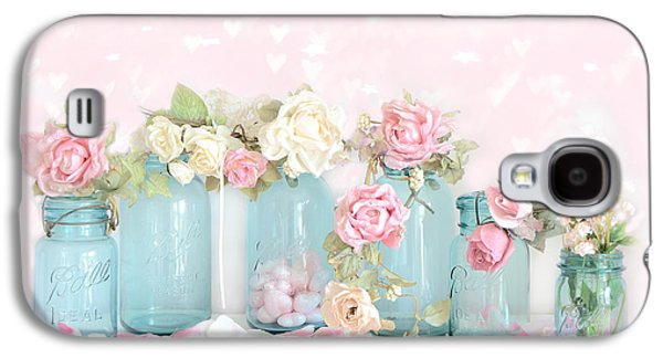 Dreamy Shabby Chic Pink White Roses  - Vintage Aqua Teal Ball Jars Romantic Floral Roses  Galaxy S4 Case