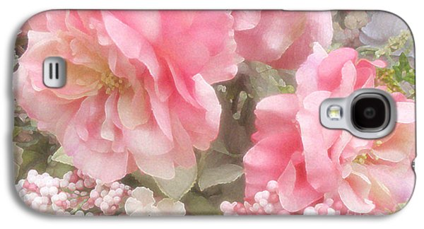 Dreamy Vintage Cottage Shabby Chic Pink Roses - Romantic Roses Galaxy S4 Case