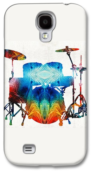Drum Set Art - Color Fusion Drums - By Sharon Cummings Galaxy S4 Case by Sharon Cummings