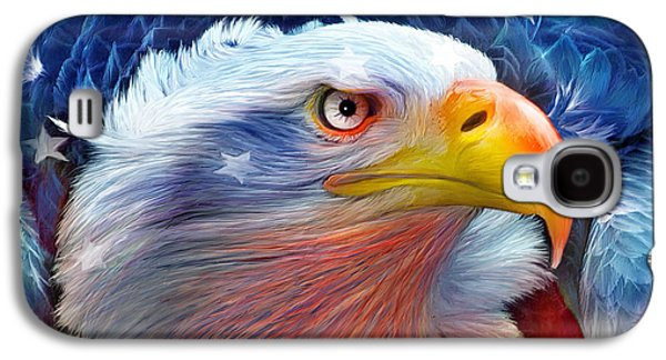 Eagle Red White Blue Galaxy S4 Case by Carol Cavalaris