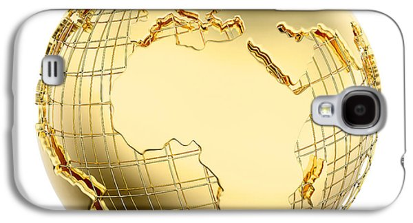 Earth In Gold Metal Isolated - Africa Galaxy S4 Case by Johan Swanepoel
