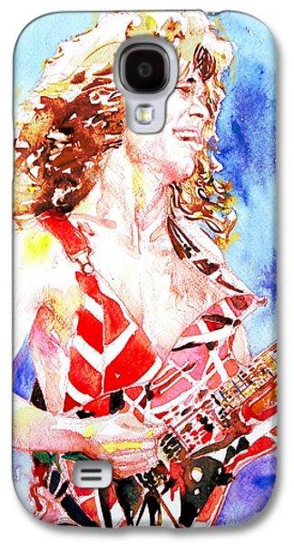 Eddie Van Halen Playing The Guitar.2 Watercolor Portrait Galaxy S4 Case