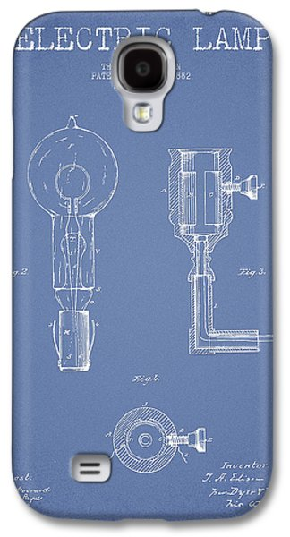 Edison Electric Lamp Patent From 1882 - Light Blue Galaxy S4 Case by Aged Pixel