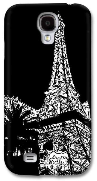 Eiffel Tower Paris Hotel Las Vegas - Pop Art - Black And White Galaxy S4 Case by Ian Monk