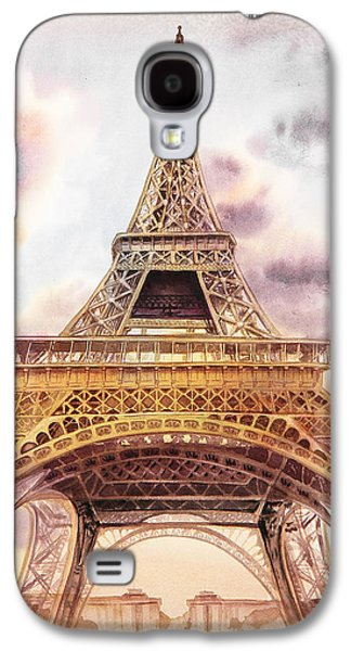 Galaxy S4 Case featuring the painting Eiffel Tower Vintage Art by Irina Sztukowski