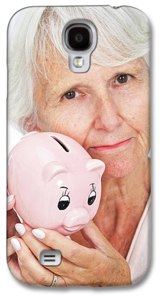Elderly Woman With A Piggy Bank Galaxy S4 Case by Lea Paterson