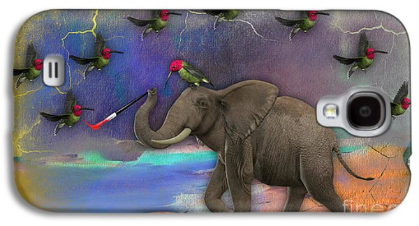 Elephant Painting Birds Out Of Thin Air. Galaxy S4 Case by Marvin Blaine