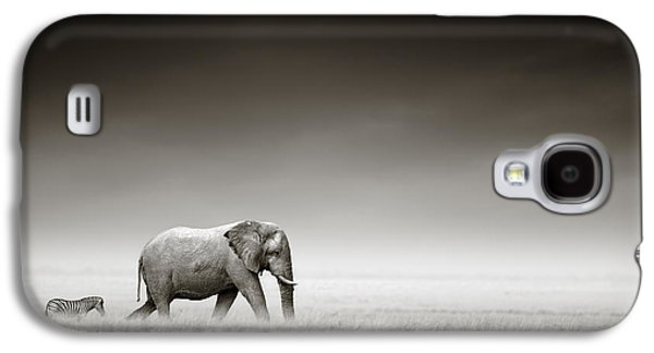 Elephant With Zebra Galaxy S4 Case by Johan Swanepoel