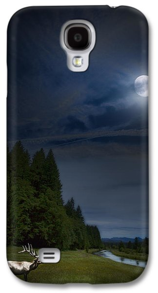 Elk Under A Full Moon Galaxy S4 Case