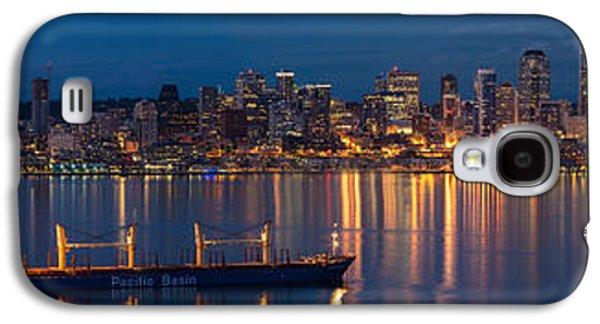 Elliott Bay Seattle Skyline Night Reflections  Galaxy S4 Case by Mike Reid