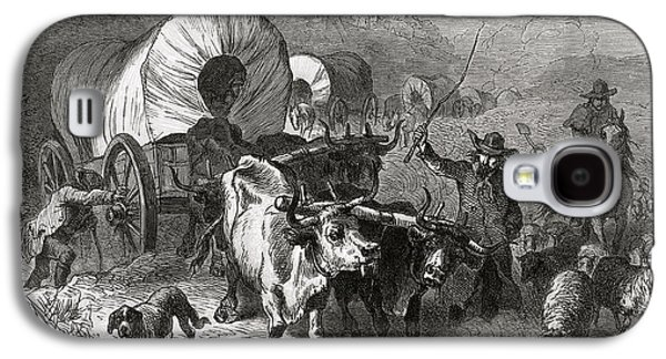 Emigration To The Western Country, Engraved By Bobbett Engraving Bw Photo Galaxy S4 Case by Felix Octavius Carr Darley