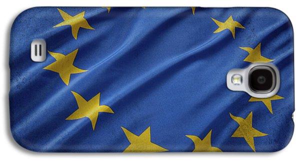 European Union Flag Waving On Aged Canvas Galaxy S4 Case by Eti Reid