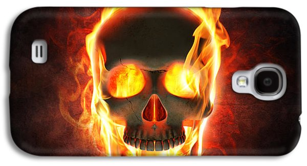 Evil Skull In Flames And Smoke Galaxy S4 Case by Johan Swanepoel