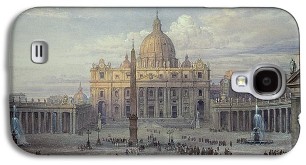 Exterior Of St Peters In Rome From The Piazza Galaxy S4 Case by Louis Haghe