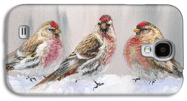 Crossbill Galaxy S4 Case - Snowy Birds - Eyeing The Feeder 2 Alaskan Redpolls In Winter Scene by Karen Whitworth