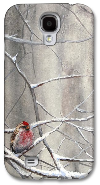 Crossbill Galaxy S4 Case - Eyeing The Feeder Alaskan Redpoll In Winter by Karen Whitworth
