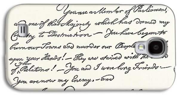 Facsimile Of A Letter From Benjamin Franklin To Mr Galaxy S4 Case by English School