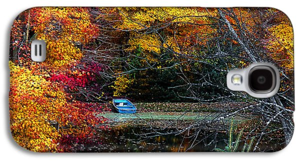 Rowboat Galaxy S4 Cases - Fall Pond and Boat Galaxy S4 Case by Tom Mc Nemar