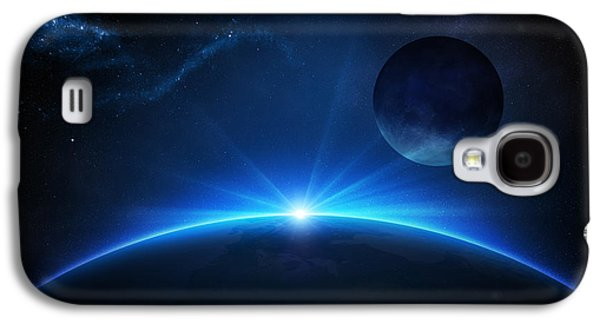 Fantasy Earth And Moon With Sunrise Galaxy S4 Case by Johan Swanepoel