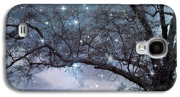 Fantasy Nature Blue Starry Surreal Gothic Fantasy Blue Trees Nature Starry Night Galaxy S4 Case by Kathy Fornal