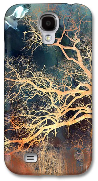Seagull Gothic Fantasy Surreal Trees And Seagull Flying Galaxy S4 Case by Kathy Fornal
