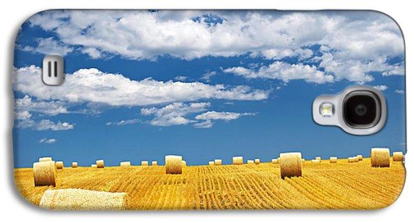 Farm Field With Hay Bales Galaxy S4 Case by Elena Elisseeva