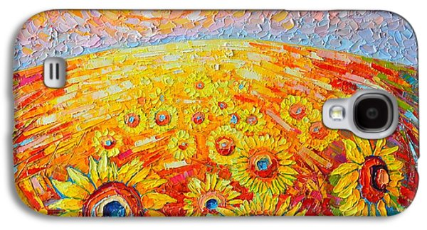 Fields Of Gold - Abstract Landscape With Sunflowers In Sunrise Galaxy S4 Case